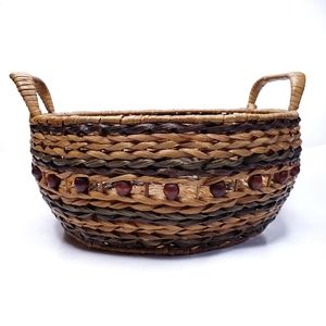 Beaded Woven Wicker Basket With Handles Home Decor